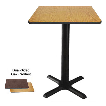 "24"" Square Oak/Walnut Bar-Height Dual-Sided Table Kit 42-1/4""H"