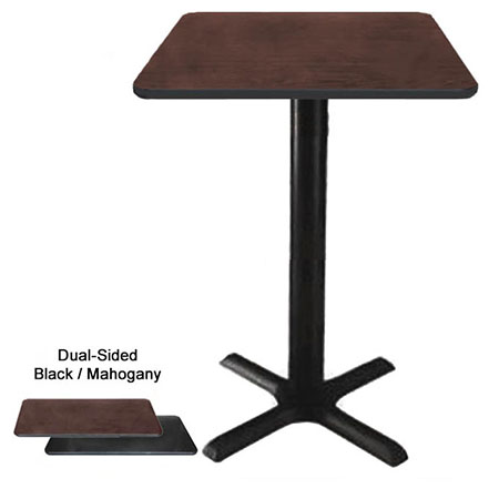 "30"" Square Black/Mahogany Bar-Height Dual-Sided Table Kit 42-1/4""H"