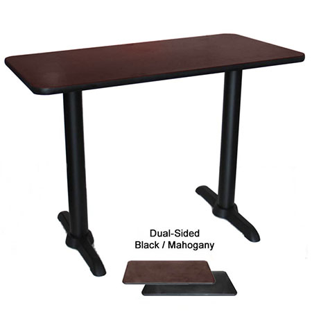 "30"" x 48"" Black/Mahogany 2 Column Dining-Height Dual-Sided Table Kit 29-1/4""H"