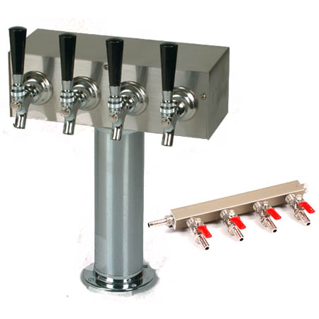 American Beverage 4 Faucet Round Column Draft Tower with Manifold for Beverage Air Draft Beer Coolers