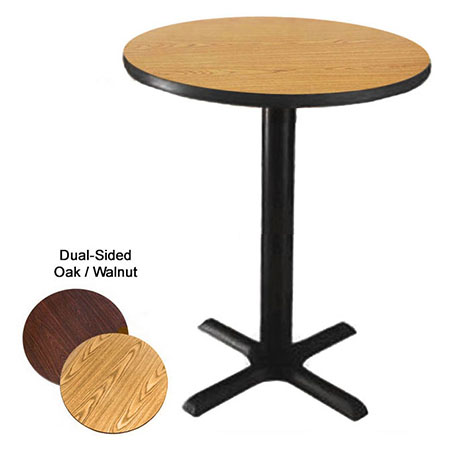"48"" Round Oak/Walnut Bar-Height Dual-Sided Table Kit 42-1/4""H"