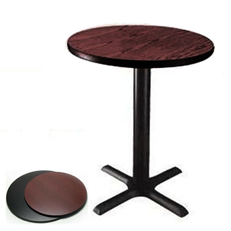 "42"" Round Black/Mahogany Dual-Sided Table Kit"