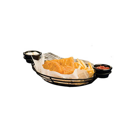 "Black Metal Oval Basket with Ramekin Holders 11"" x 8"" x 3-1/4"""