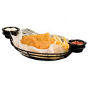 Black Metal Oval Basket with Ramekin Holders 11\x22 x 8\x22 x 3-1/4\x22