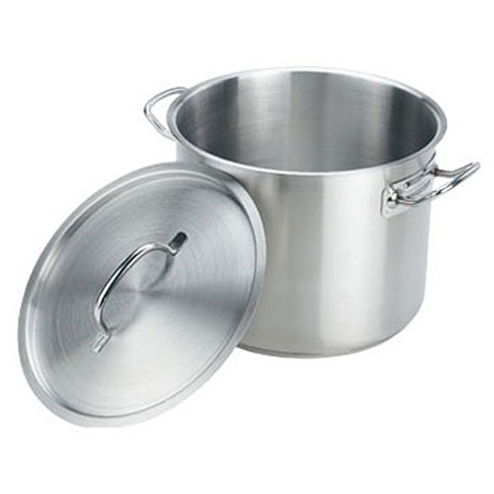 Crestware 35-Quart Induction Ready Stainless Steel Stock Pot with Cover