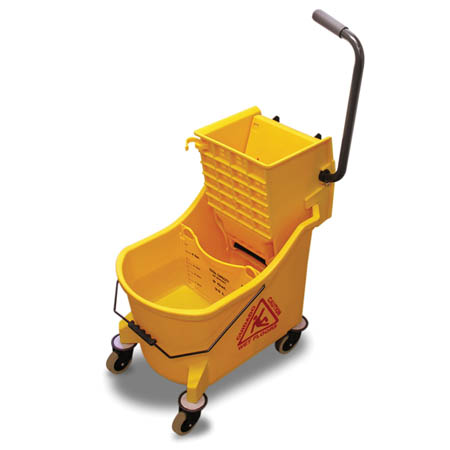 O-Cedar Commercial 36-Quart Yellow Mop Bucket with Down Press Wringer
