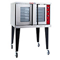 Tri-Star Full Size Single Deck 208V Electric Convection Oven with Legs and Casters 38-1/8
