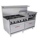"Tri-Star 6-Burner Gas Range with 24"" Griddle/Broiler 60""W"