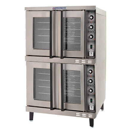 "Baker's Pride Full Size Double Deck 208V Electric Convection Oven with Legs 38-1/8""W"