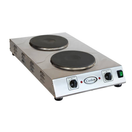 "Cadco 220V Hi-Power Double Cast Iron Hot Plate 15""W"