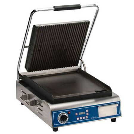 "Globe 14"" x 14"" Panini Ribbed Top Smooth Bottom Sandwich Grill"