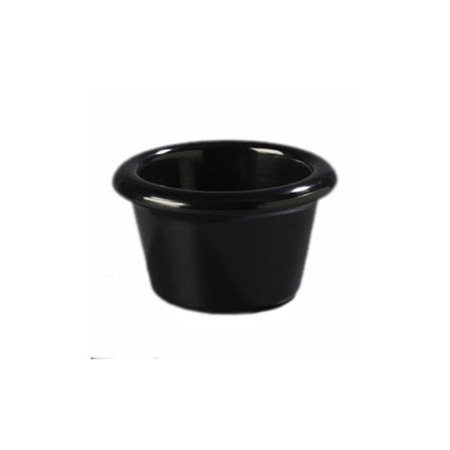 Gessner 2 oz. Black Smooth-Sided Melamine Ramekin