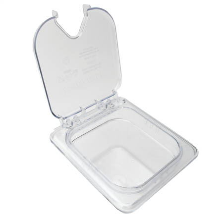 "EZ Access Hinged Clear Lid for Carlisle StorPlus 1/6-Size Food Pan 6-3/8"" x 6-3/4"" x 2"""