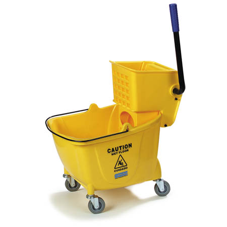 Carlisle 35-Quart Yellow Mop Bucket with Side Press Wringer