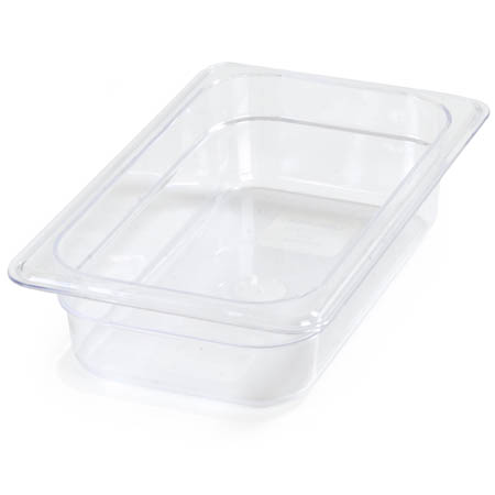 "Carlisle StorPlus 1/4-Size Clear Food Pan 6-3/8"" x 10-1/2"" x 2-1/2"" Deep"