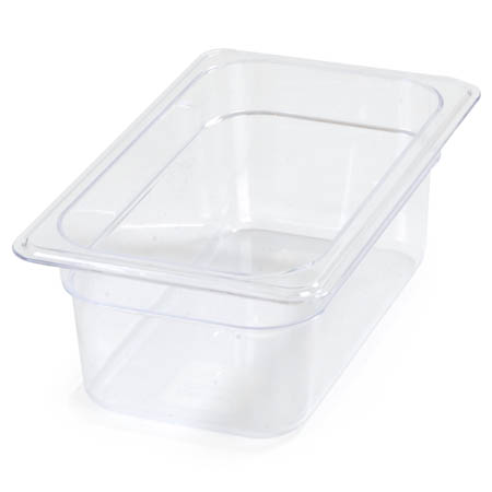 "Carlisle StorPlus 1/4-Size Clear Food Pan 6-3/8"" x 10-1/2"" x 4"" Deep"