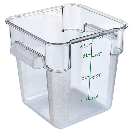 "Carlisle StorPlus 4-Quart Clear Square Food Storage Container 7""H"