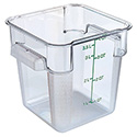 Carlisle StorPlus 4-Quart Clear Square Food Storage Container 7\x22H