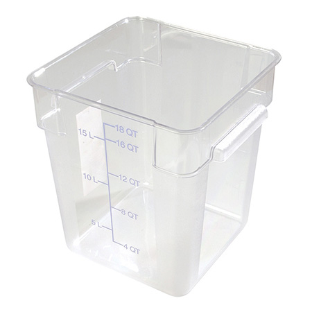 "Carlisle StorPlus 18-Quart Clear Square Food Storage Container 13""H"