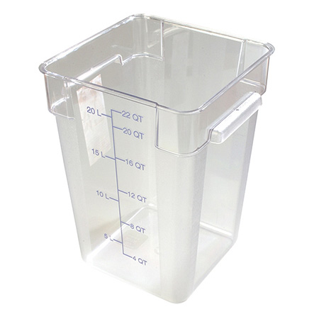 "Carlisle StorPlus 22-Quart Clear Square Food Storage Container 16""H"