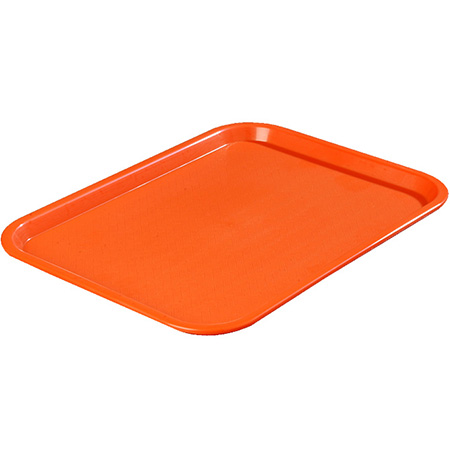 "Carlisle Café Polypropylene Orange Fast Food Tray 10"" x 14"""