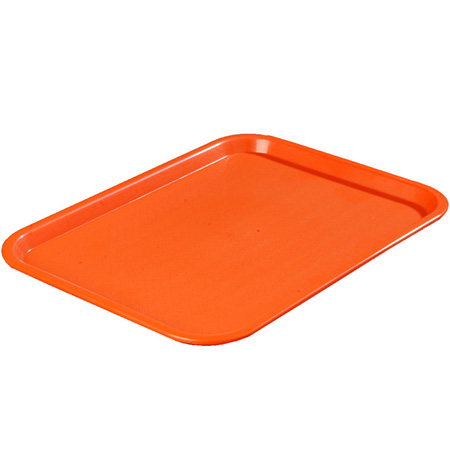 "Carlisle Café Polypropylene Orange Fast Food Tray 12"" x 16"""