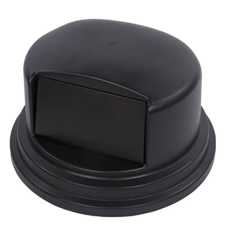 Black Carlisle Bronco dome lid for the 55-Gallon Round Trash Container
