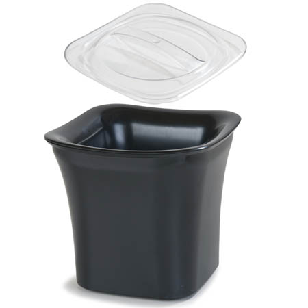 Carlisle Designer Series Coldmaster 2-Quart Black Crock with Solid Lid