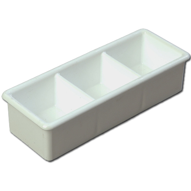 Three Compartment White Sugar Caddy