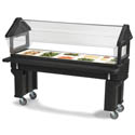 Carlisle Six Star 6\' Black Portable Salad Bar with Sneeze Guard