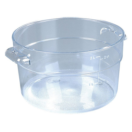 "Carlisle StorPlus 2-Quart Clear Round Food Storage Container 4""H"