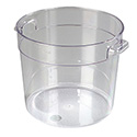 "Carlisle StorPlus 6-Quart Clear Round Food Storage Container 8""H"