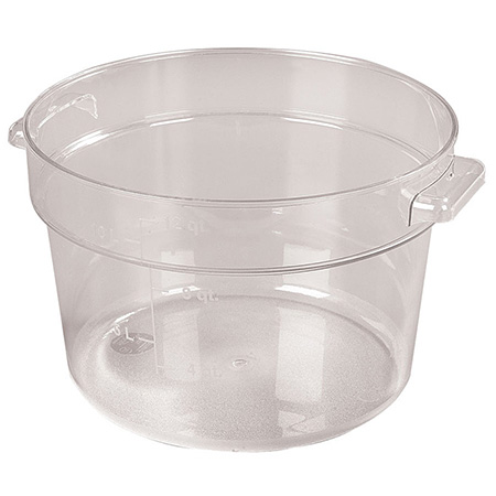 "Carlisle StorPlus 12-Quart Clear Round Food Storage Container 8""H"