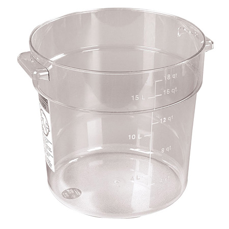 "Carlisle StorPlus 18-Quart Clear Round Food Storage Container 12""H"