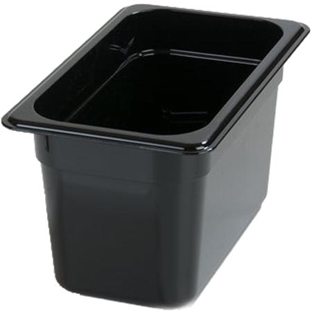 "Carlisle StorPlus 1/4-Size High Heat Black Food Pan 10-1/4"" x 6-3/8"" x 6"" Deep"