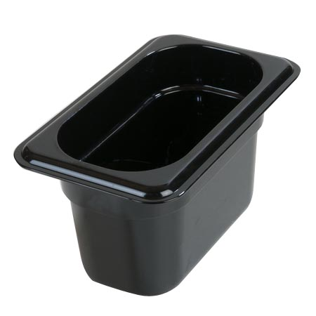 "Carlisle StorPlus 1/9-Size High Heat Black Food Pan 6-3/4"" x 4-1/4"" x 4"" Deep"