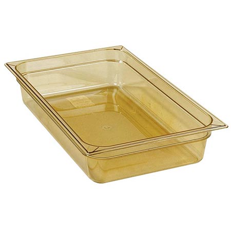 "Carlisle Full Size High Heat Amber Food Pan 12-3/4"" x 20-3/4"" x 4"" Deep"