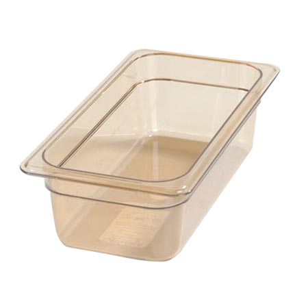 "Carlisle StorPlus 1/3-Size High Heat Amber Food Pan 7"" x 12-3/4"" x 4"" Deep"