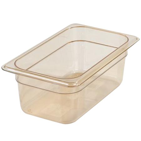 "Carlisle StorPlus 1/4-Size High Heat Amber Food Pan 6-3/8"" x 10-1/4"" x 4"" Deep"