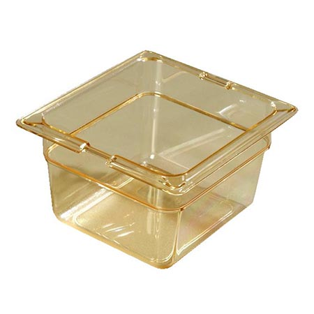 "Carlisle StorPlus 1/6-Size High Heat Amber Food Pan 6-3/4"" x 6-3/8"" x 4"" Deep"