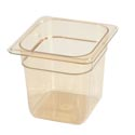 Carlisle StorPlus 1/6-Size High Heat Amber Food Pan 6-3/4\x22 x 6-3/8\x22 x 6\x22 Deep