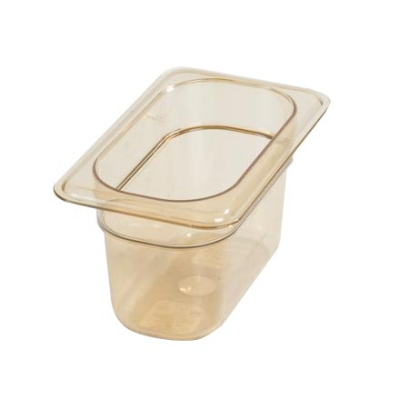 "Carlisle StorPlus 1/9-Size High Heat Amber Food Pan 6-3/4"" x 4-1/4"" x 4"" Deep"