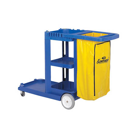 "Continental 3-Shelf Blue Janitor Cart with Utility Bag 55-5/8""L x 19-1/2""W x 38""H"