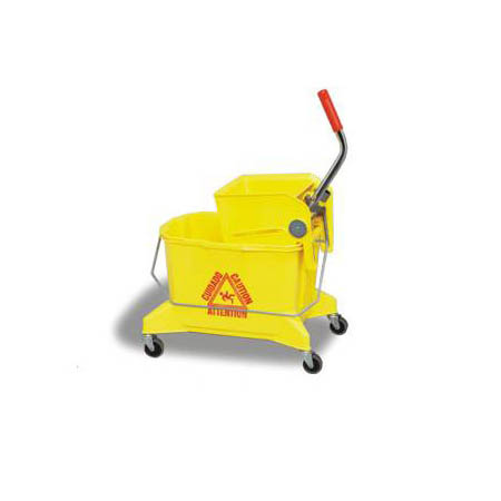 Continental 26-Quart Yellow Smoothline Mop Bucket with Side Press Wringer
