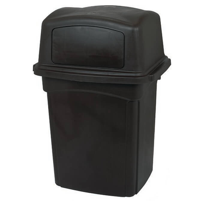 Continental 45-Gallon Colossus Black Trash Container with Lid