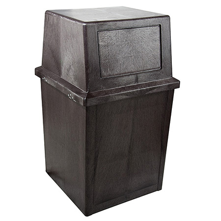Continental 50-Gallon King Kan Brown Trash Container with Lid