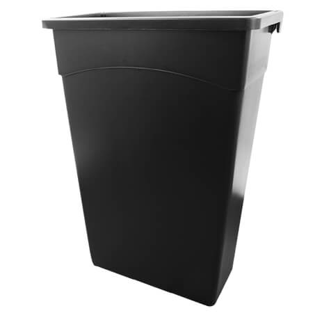 "Continental 23-Gallon Black Wall Hugger Waste Container 11""W"