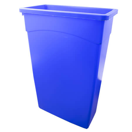 "Continental 23-Gallon Blue Wall Hugger Waste Container 11""W"