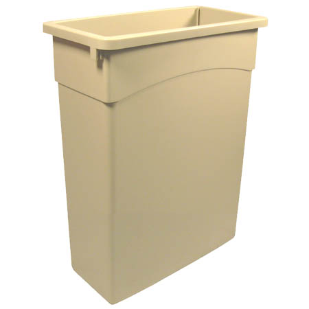 Continental 16-Gallon Wall Hugger Beige Trash Container