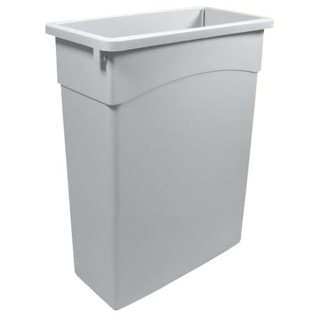Continental 16-Gallon Wall Hugger Gray Trash Container